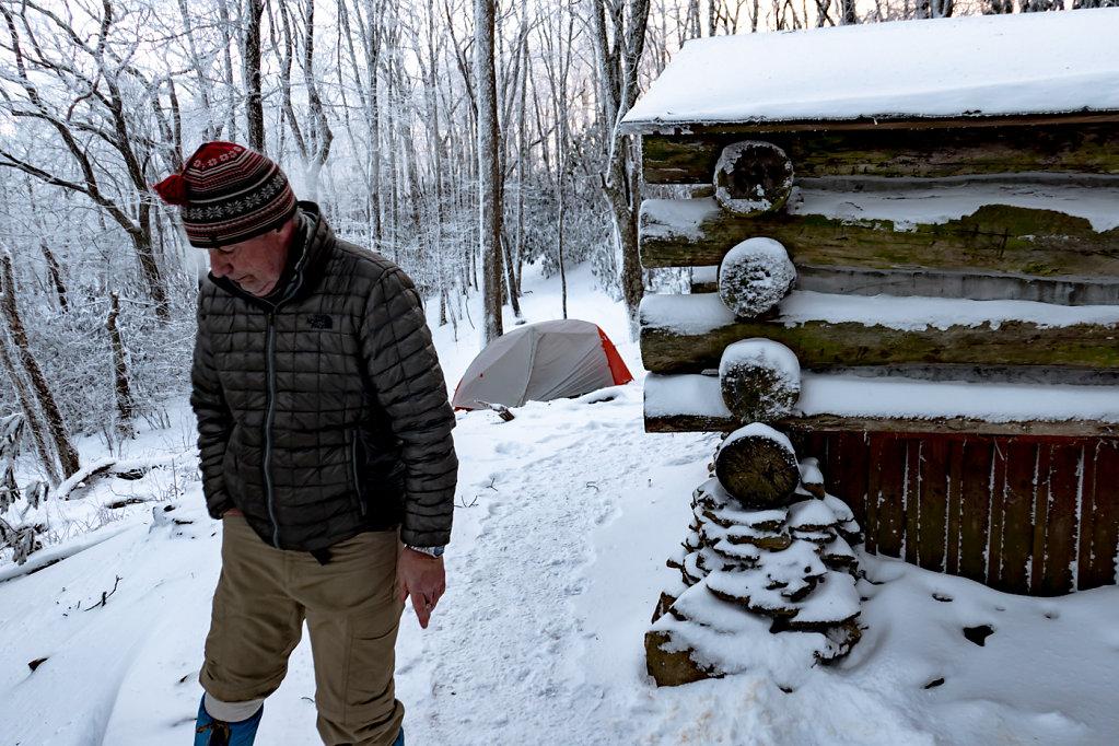 Chef Smokes a Cigarette, Cold Creek Shelter, NC